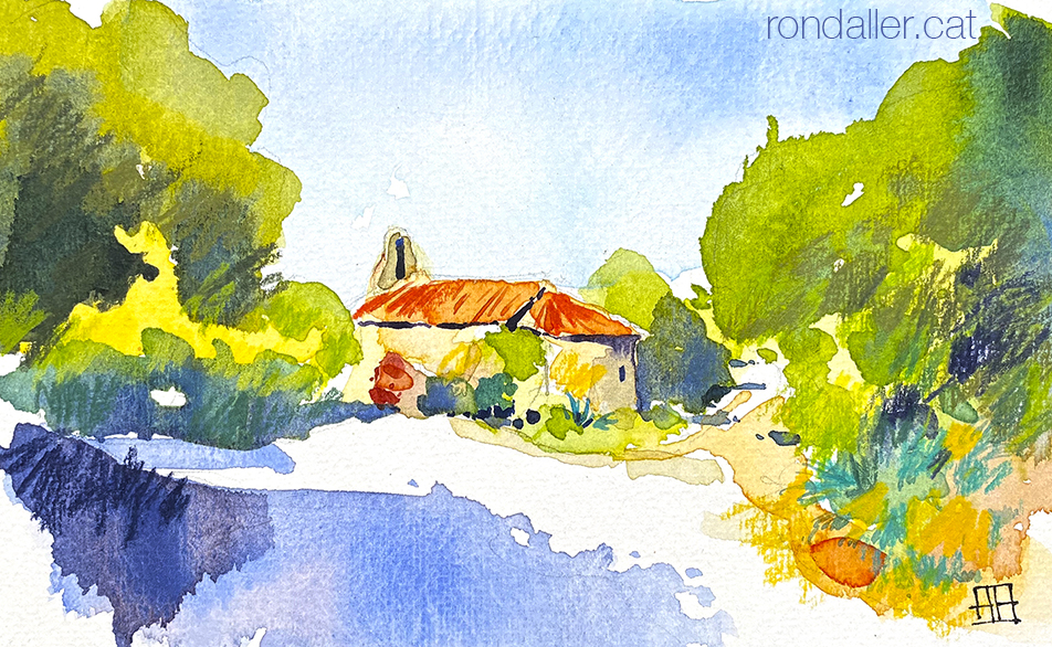 Aquarel·la de l'ermita de Sant Bartomeu de Cabanyes.