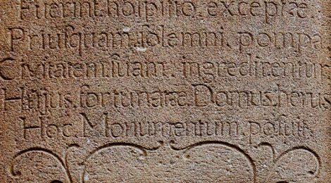 Inscripció sobre Les Santes de Mataró.