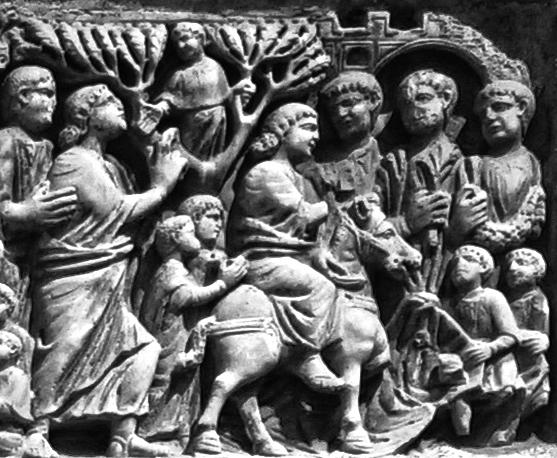 Detall de Zaqueu dalt la figuera.