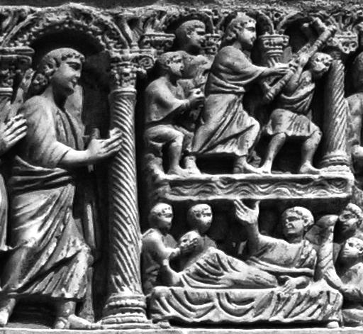 El sarcòfag de Bethesda de la Catedral de Tarragona. Detall de jesús parlant amb el minusvàlid