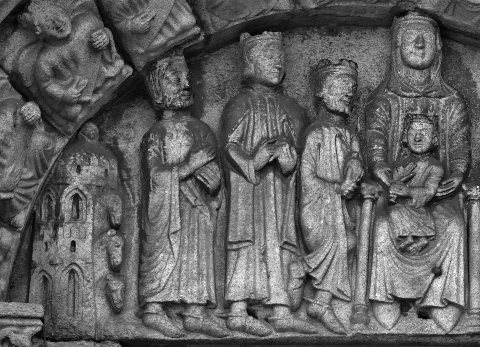 Relleu dels Reis Mags a la portalada de Santa Maria do Campo. Primer itinerari per A Coruña