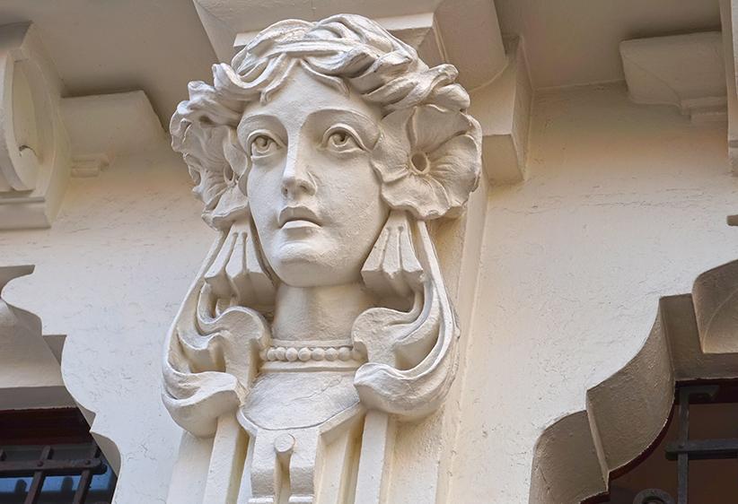 Mènsula amb rostre femení a la Casa Arambillet. Tercer itinerari per A Coruña