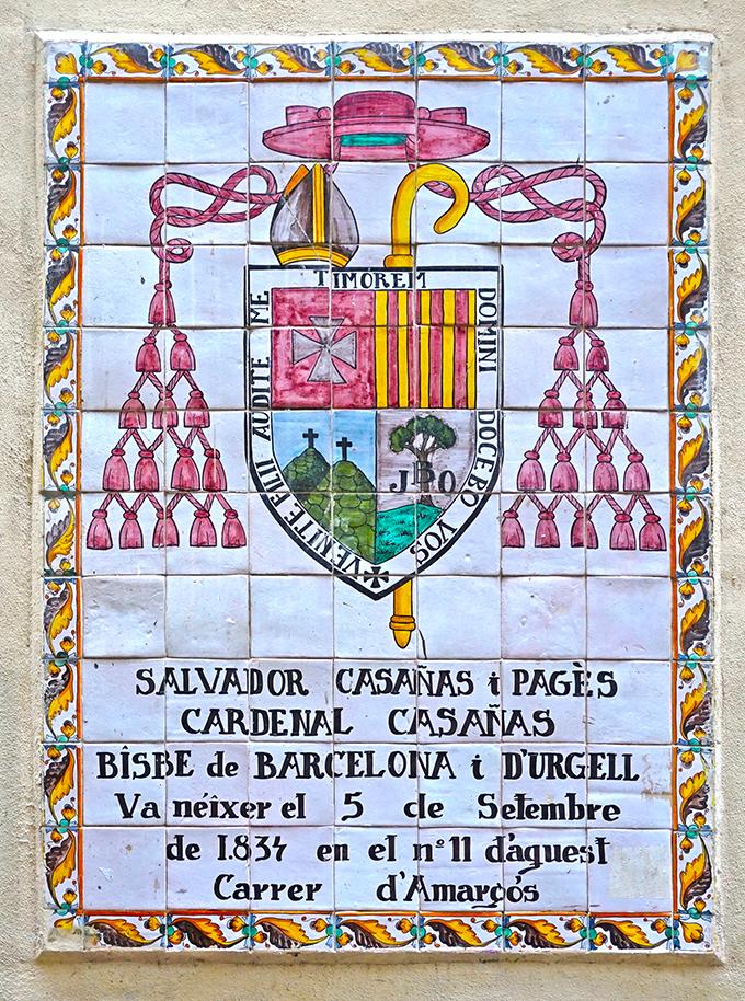 carrer Amargós. Escut Cardenal Casañas. Barcelona