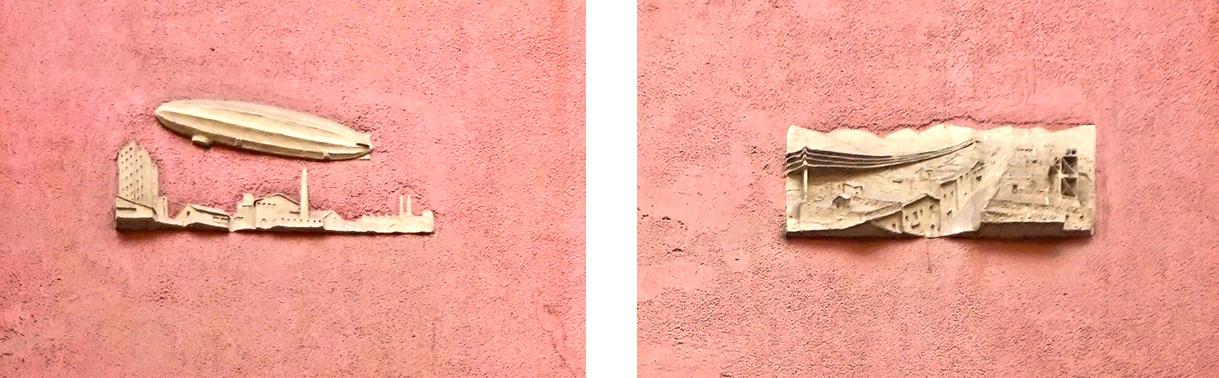 Un relleu amb un zeppelin i un altre amb un carrer amb cables elèctrics. Edifici racionalista al carrer Ortigosa