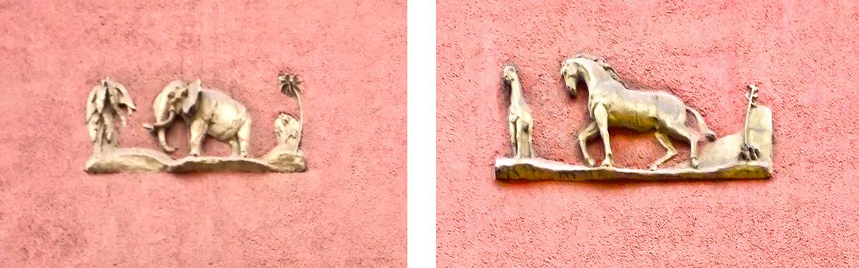 Un relleu amb un elefant i un altre amb dos cavalls. Edifici racionalista al carrer Ortigosa