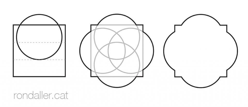 Croquis de la formació del motiu geomètric esgrafiat a l'església de Sant Pol de la Bisbal d'Empordà.