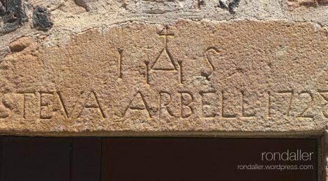 Llinda. Inscripció. Símbol. Santa Pau. Garrotxa