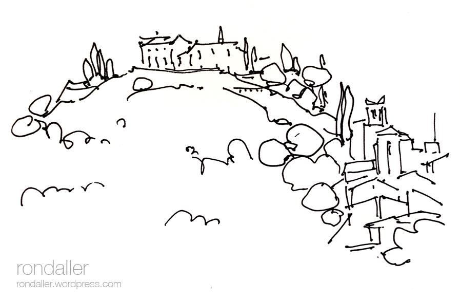 Dibuix de la població d'Hostalric. La Selva