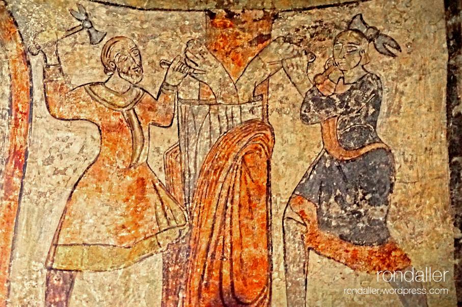 Església de Santa Maria de Barberà del Vallès. Pintura mural que representa la crucifixio de Pere.