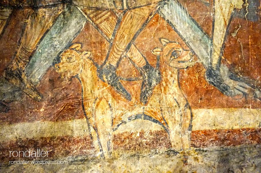 Detall de la pintura que representa els peus d'Herodes.