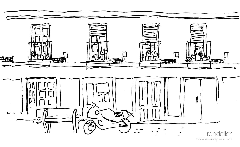 Dibuix de les cases d'obrers al carrer de Guatemala. Itinerari pel barri del Clot. Sant Martí de Provençals (Barcelona).