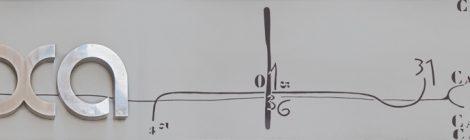 Rètol esgrafiat del 1966 realitzat per Josep Ponsatí per la sabateria Freixa de Banyoles.