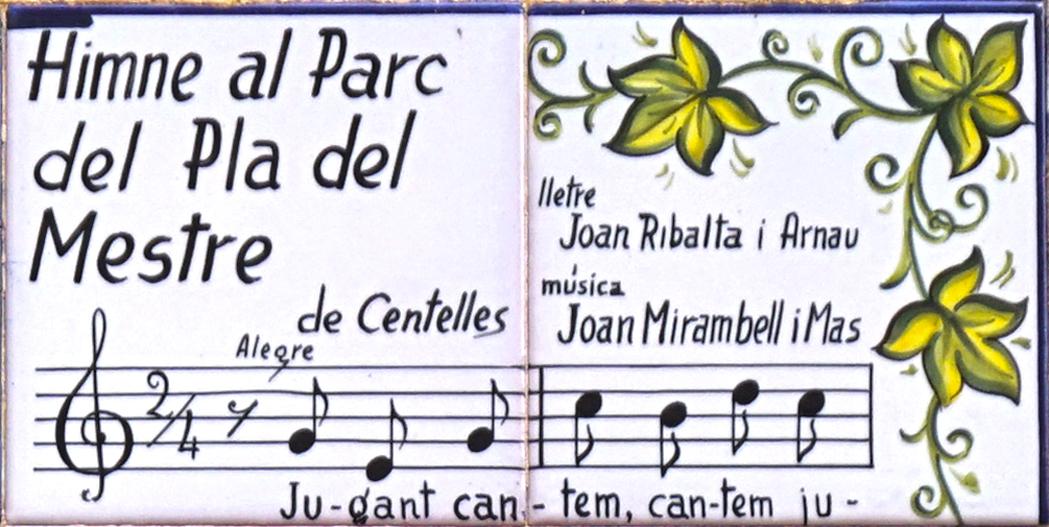 Rajoles amb l'himne al Parc del Pla del Mestre de Centelles.
