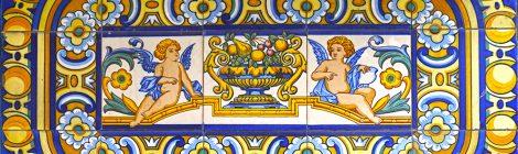 Sant Joan de les Abadesses, plafó ceràmic, rajola, noucentisme