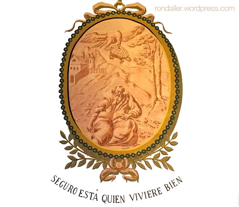 Medallons del Saló d'Esgrima del Castell de Castelldefels. Baix Llobregat. Seguro está quien viviere bien.