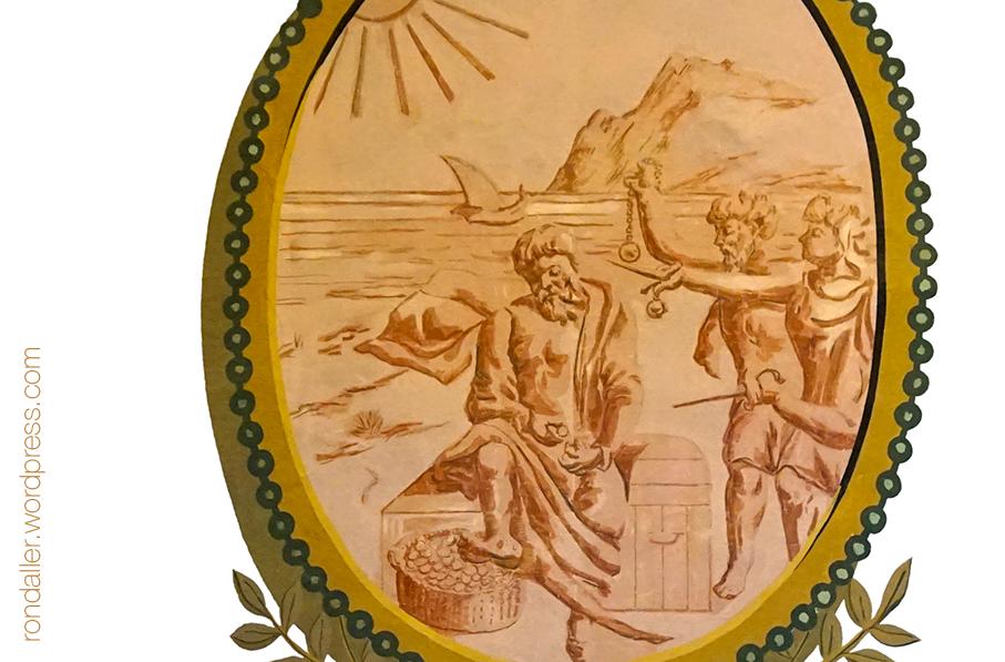 Acomódate al tiempo. Medallons del Saló d'Esgrima del Castell de Castelldefels. Baix Llobregat.