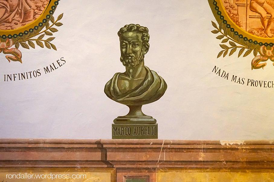 Bust de Marc Aureli pintat al Saló d'Esgrima del Castell de Castelldefels. Baix Llobregat.