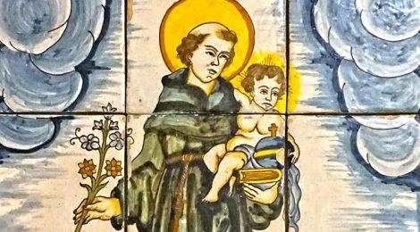 Sant Antoni, plafó ceràmic, ceràmica, rajola