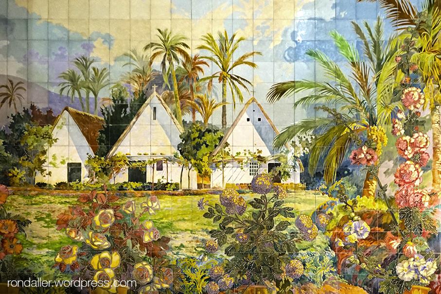 Mosaic a l'interior de l'Estació del Nord de València amb una escena de barraques i l'horta, fet per Gregorio Muñoz Dueñas.