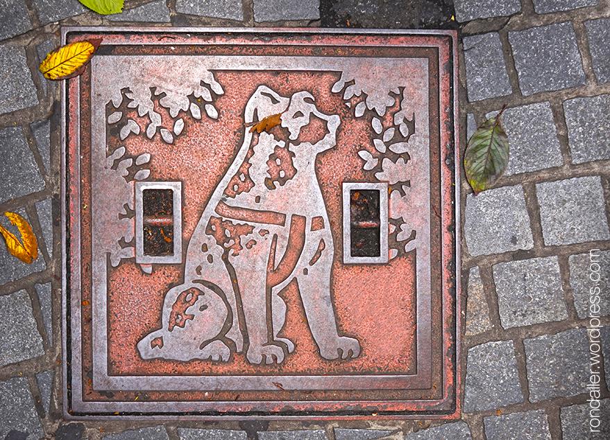 Tapa del registre amb el gos Hachico en relleu a Tòquio.