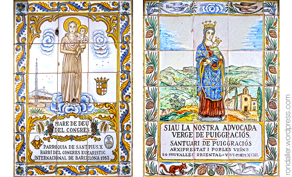 Plafons ceràmics amb la Mare de Déu del Congrès i de Puiggraciós.