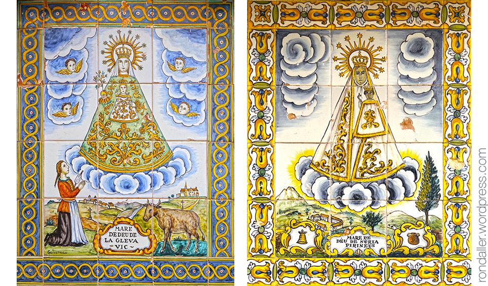 Plafons ceràmics amb la Mare de Déu de la Gleva i la de Núria.