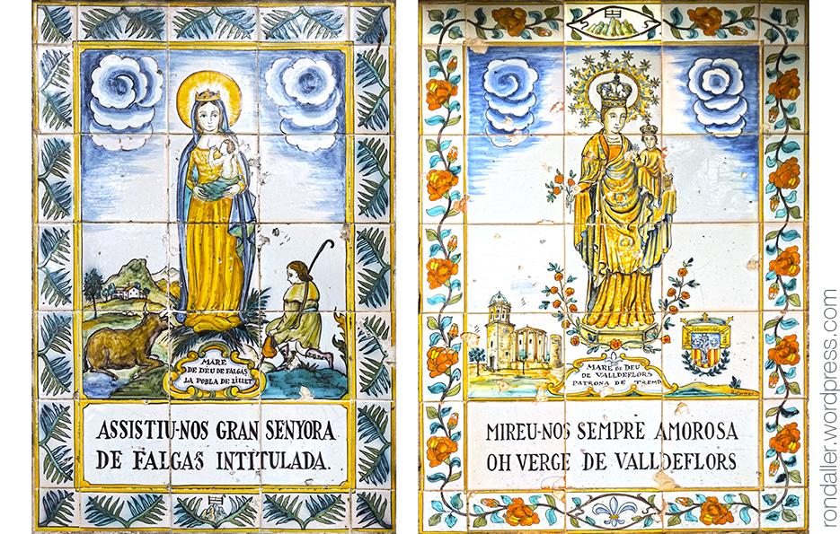 Més obres de Guivernau als Degotalls a Montserrat. Plafons ceràmics amb la Verge de Falgars i la de Valldeflors.