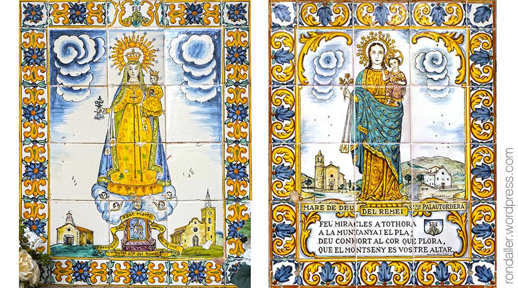 Més obres de Guivernau als Degotalls a Montserrat. Plafons ceràmics amb la Verge del Tallat i la del Patrocini.