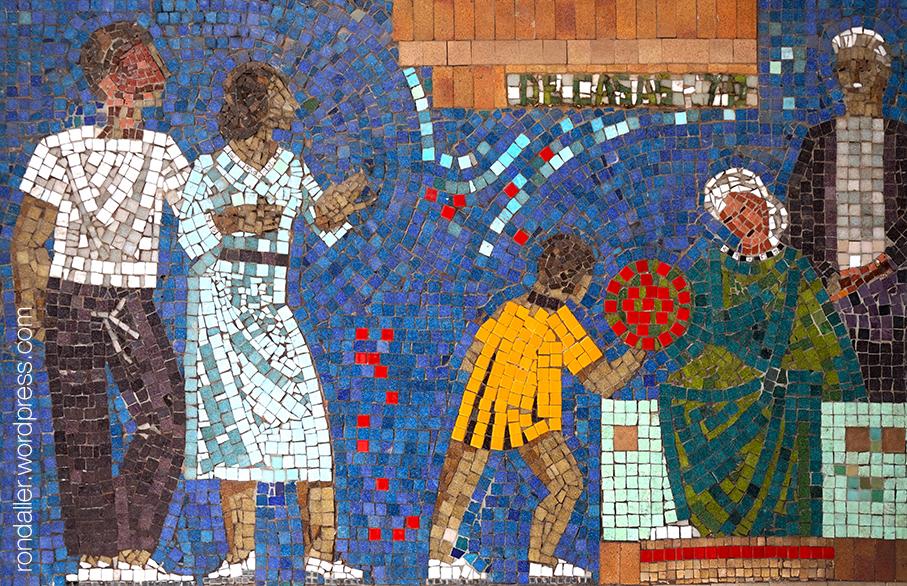 Mosaic de La Caixa a Terrassa. Representació d'un infant amb uns ancians.