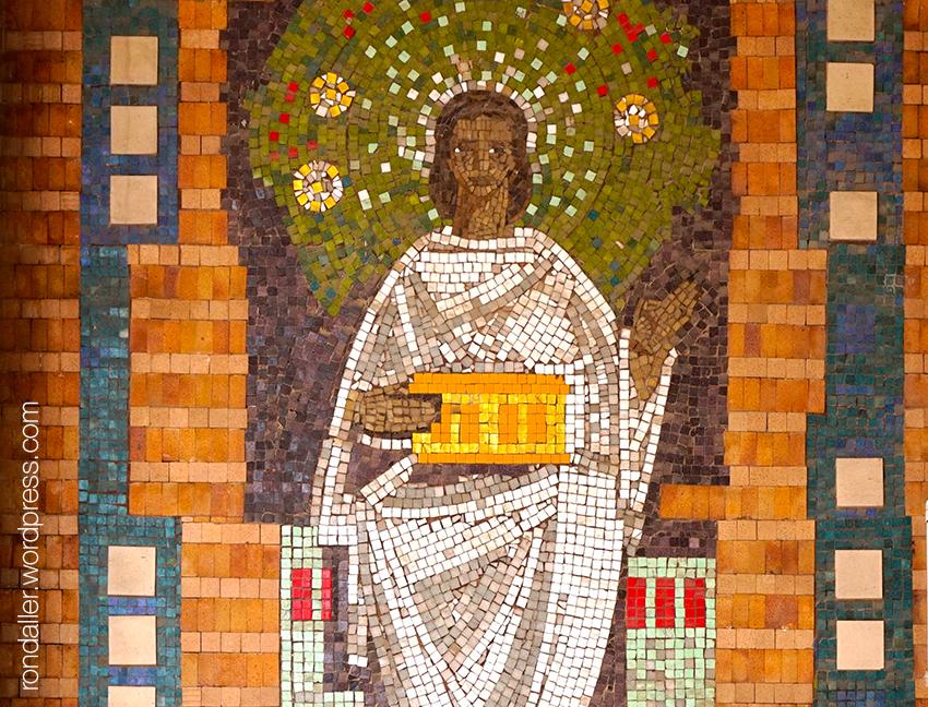 Mosaic de La Caixa a Terrassa. Representació de l'estalvi.
