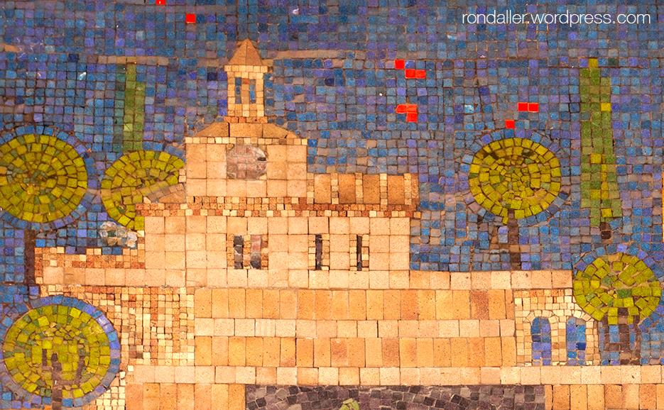 Mosaic de La Caixa a Terrassa. Representació de l'església de Santa maria d'Ègara.