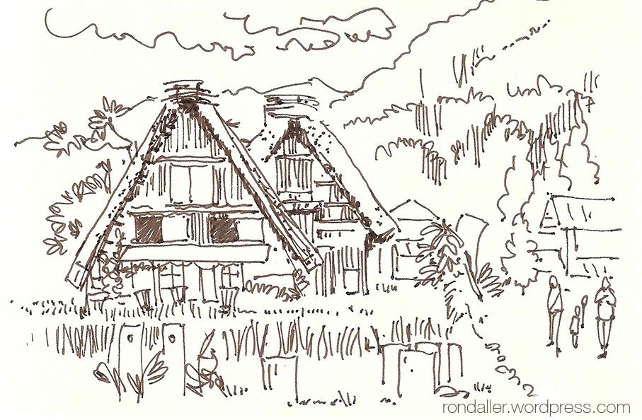 Dibuix del poblat de Shirakawago.