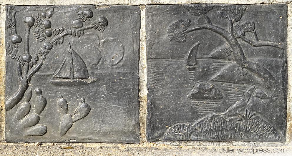 Els bancs de Sant Feliu de Guíxols, Baix Empordà. Rajoles amb vaixells.
