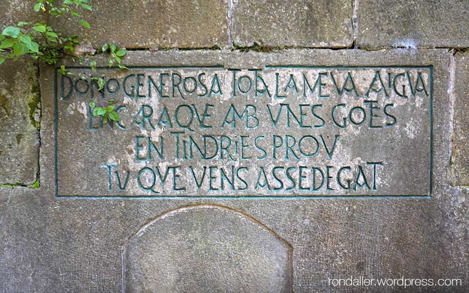 Inscripció damunt la font principal del Parc de les Set Fonts de Sant Julià de Vilatorta (Osona).
