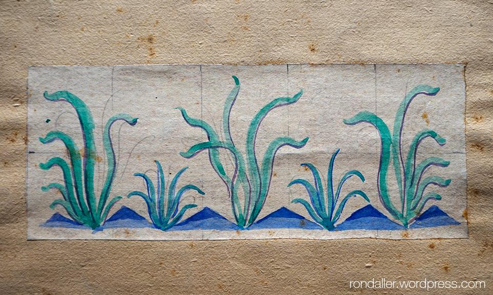 Projecte en paper realitzat per Antoni Serra de la sanefa inferior de la Font de la Mina Cristal·lina de Blanes.