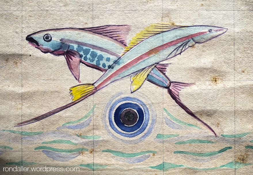 Projecte en paper realitzat per Antoni Serra de dos peixos per a la Font de la Mina Cristal·lina de Blanes.