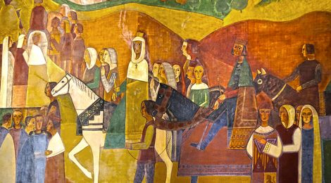 mural, Fornells-Pla, pintura, Montserrat, Reis Catòlics, rei d'armes, herald,