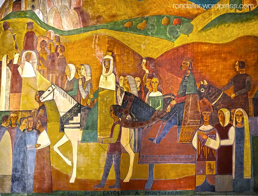 Mural de Fornells-Pla que representa la visita dels Reis Catòlics a Montserrat.