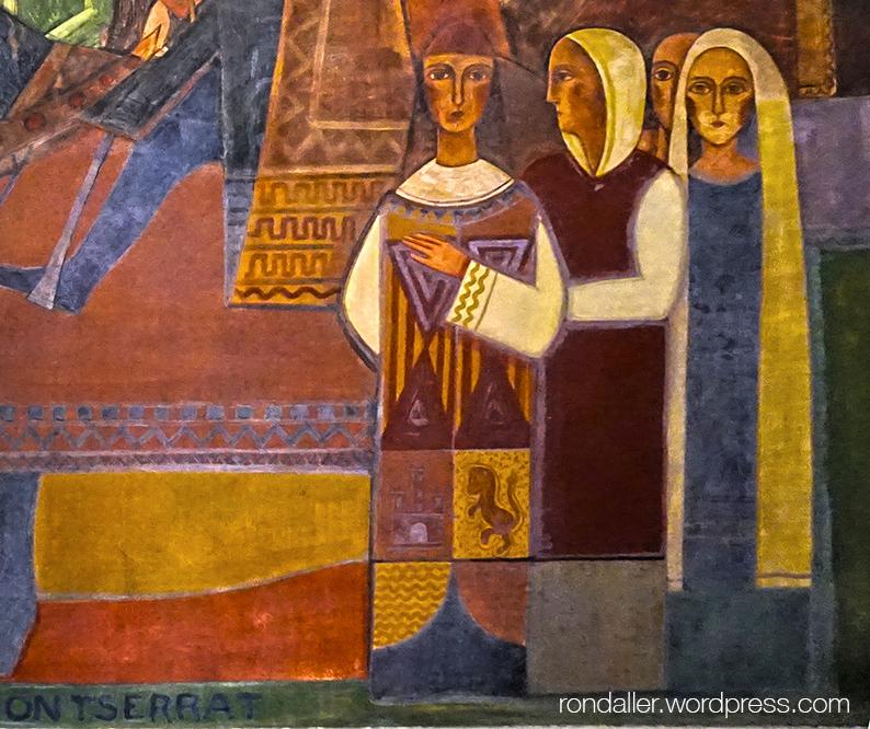 Mural de Fornells-Pla que representa la visita dels Reis Catòlics a Montserrat. Detall de la figura de l'herald.