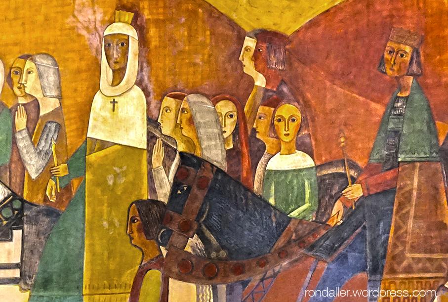 Detall dels monarques muntats a cavall.