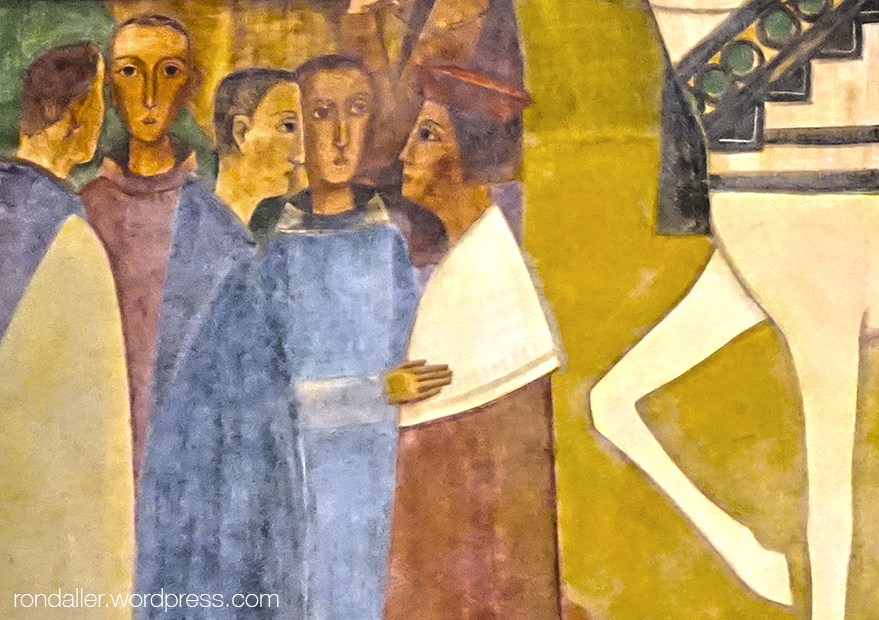 Mural de Fornells-Pla que representa la visita dels Reis Catòlics a Montserrat. Detall de diversos monjos.