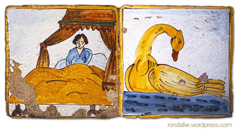 Rajoles d'auca produïdes per Esteve Via per il·lustrar un poema de Josep Carner. Sitges