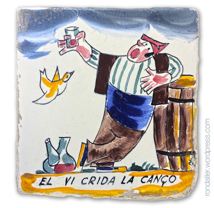 El vi crida la cançó. Rajoles humorístiques d'Anton Roca a Calella. Restaurant La Quadra.