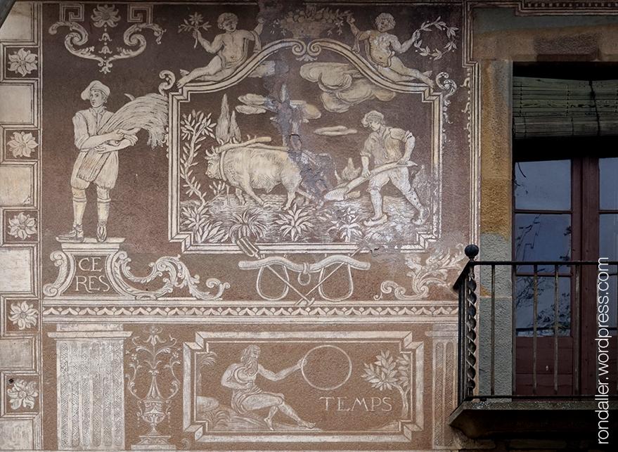 Esgrafiats de Can Pallàs a Sant Julià de Vilatorta (Osona), representant l'agricultura.