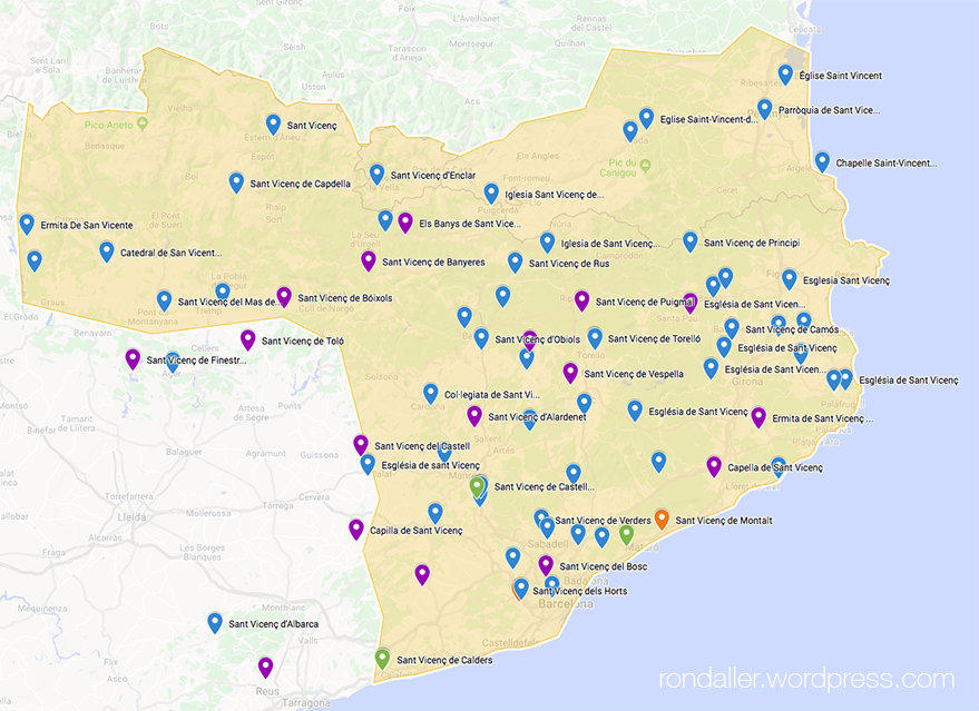 Mapa dels indrets de la Catalunya Vella dedicats a Sant Vicenç.