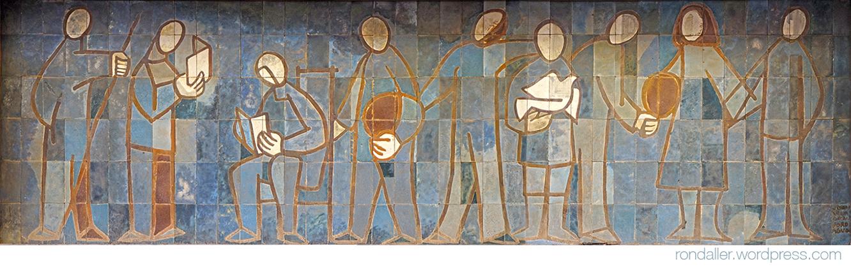 Mosaic de Vila-Grau i Aguadé al Cinema Parroquial d'Arenys de Mar.