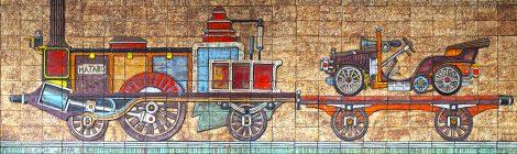 Joan Rifà, Miquel Biada, tren, ferrocarril, Mataró, Maresme, mural ceràmic