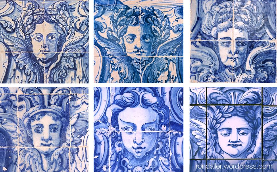 São Vicente de Fora. Comparativa de la mateixa cara a diversos plafons del claustre.