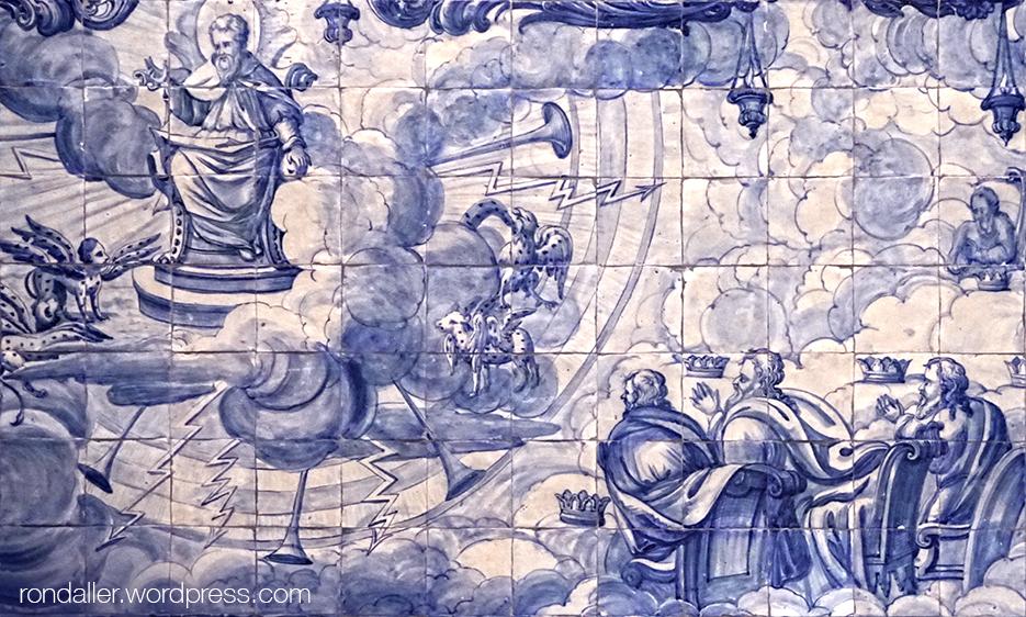 Itinerari per Cascais. Mosaics barrocs representant el judici final a ll'església de Nossa Senhora da Assunção.