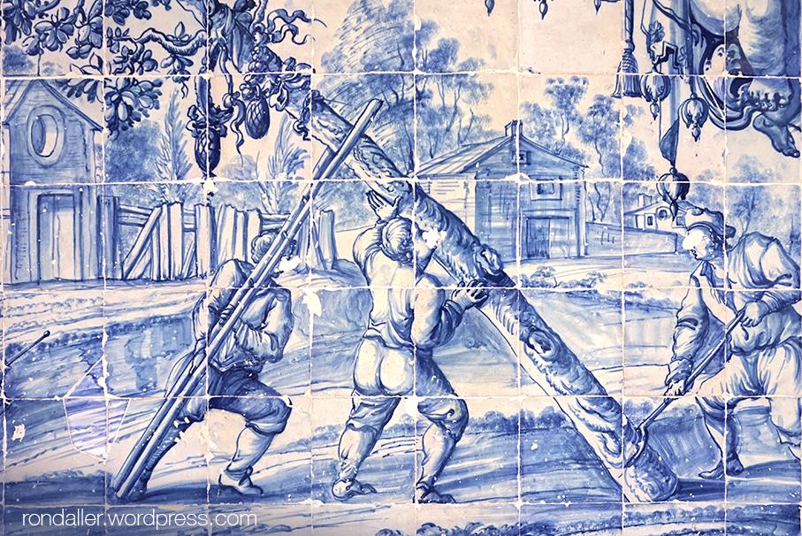 São Vicente de Fora. Mosaic que representa tres homes plantant un arbre.